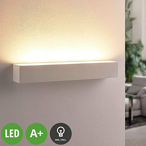 Lindby LED Wandleuchte, Wandlampe Innen 'Santino' dimmbar (Modern) in Weiß aus Gips/Ton u.a. für Wohnzimmer & Esszimmer (3 flammig, G9, A+, inkl. Leuchtmittel) - Wandstrahler, Wandbeleuchtung