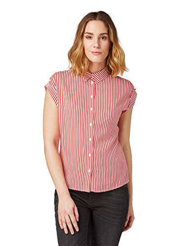 TOM TAILOR Damen Kurzarmbluse Polohemd, Rot (Red Stripe 16138), 44