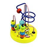 ファイン 子供のための木製のビーズ迷路赤ちゃん教育数学玩具木製ミニサークルビーズライン迷路ローラーコースターそろばん教育玩具 あどけないです (Color : Tiger Circles Bead)
