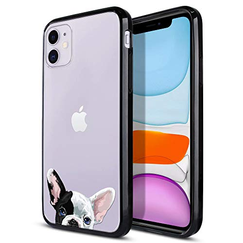 FINCIBO kompatibel mit Apple 15,5 cm (6,1 Zoll) 2019, schmal, stoßdämpfend, TPU-Stoßfänger + durchsichtige harte iPhone 11 (nicht passend für 11 Pro) – Französische Bulldogge Welpe H& Eyepatch