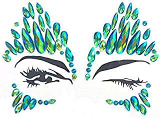 Halloween face Jewels Festival face gems Rhinestone face Sticker Pasties self Adhesive Tattoo Sticker Fashion Jewelry Temporary Tattoo Stickers for Halloween Party (Green AB/SV-01)