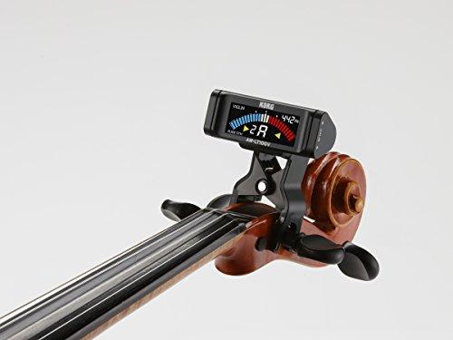 KORG100時間連続駆動ヴァイオリン/ヴィオラ用クリップチューナーAW-LT100Vペグボックスに装着純正5度対応カラー表示単4電池1本軽量コンパクト