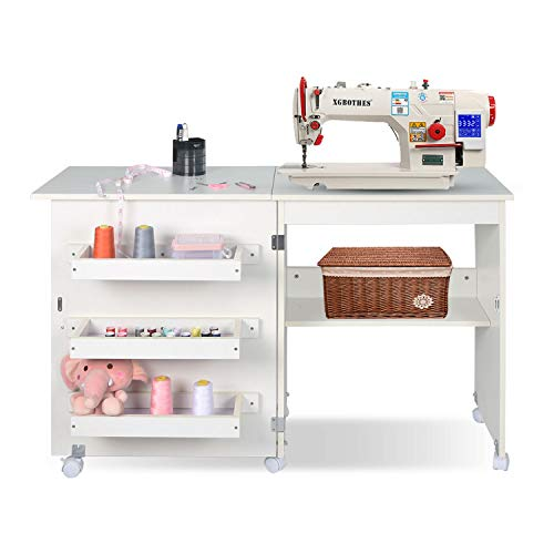 Folding Sewing Table Multifunctional Sewing Machine Cart Table Sewing Craft Cabinet with Storage Shelves Portable Rolling Sewing Desk Computer Desk with Lockable Casters(White)