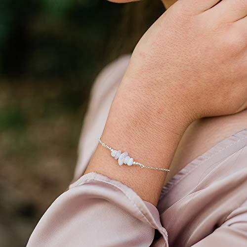 Blue Lace Agate Bead Bar Bracelet in 925 Sterling Silver - Genuine Gemstone
