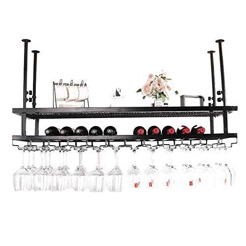 Zfggd Estante del Vino Que Cuelga del Vidrio De Vino Soporte For Copas Estante De La Botella De Vino Vino Rack De Almacenamiento En Rack Shelve (Color : Black, Size : 100cmx30cm)