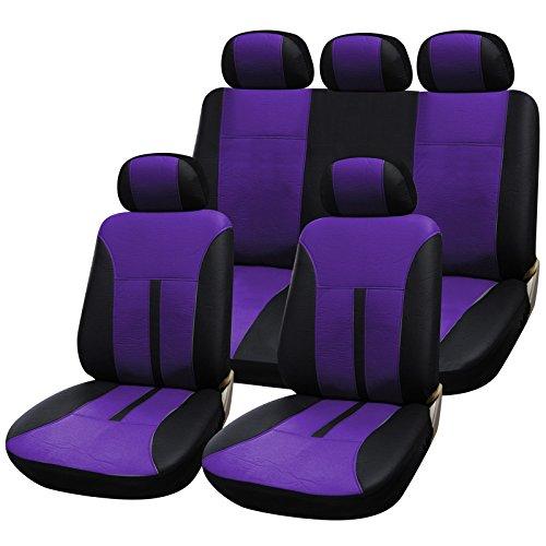 EUGAD 0075QCZT Sitzbezüge für Auto Schonbezüge Sitzbezug Schonbezug Set Werkstatt Auto universal Autositzschoner Schwarz-lila