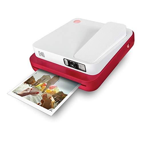 "KODAK SMILE Classic Cámara Instantánea Digital c/Bluetooth, 16MP, 35 impresiones p/carga, Incluye papel ZINK 3,5 x 4,25"", marcos con stickers, Roja"