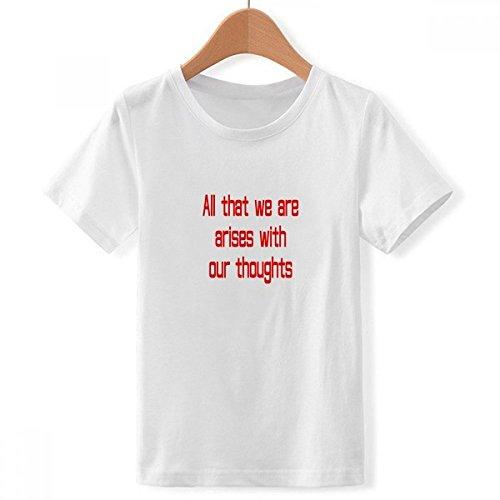 DIYthinker Jungen Ich Entstehen mit Gedanken Buddha-Zitat mit Rundhalsausschnitt Weißer T-Shirt Medium Mehrfarbig