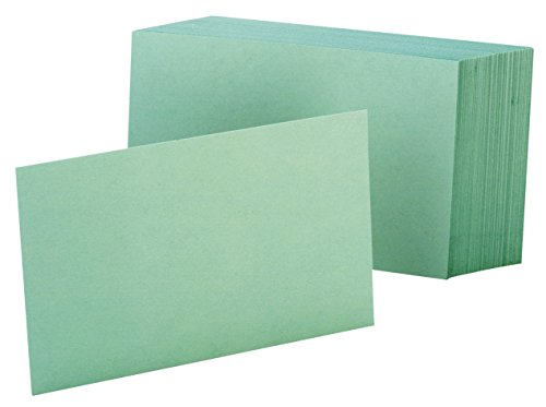 """Oxford Blank Color Index Cards, 3"""" x 5"""", Green, 100 Per Pack (7320 GRE)"""