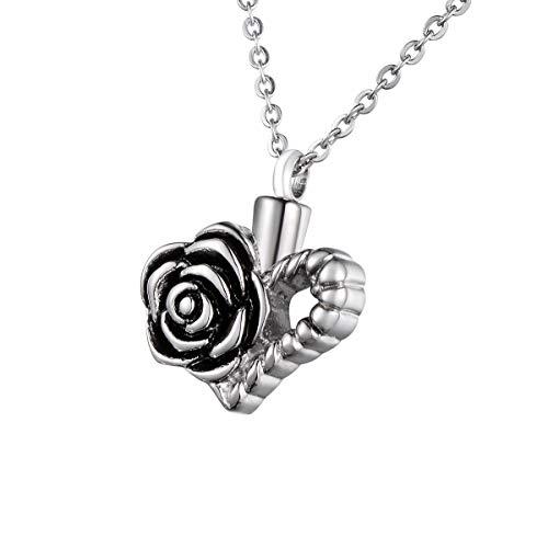 Shengyaju Halskette mit Urnen-Anhänger, Rosen und Herz, Erinnerungsstück für Asche