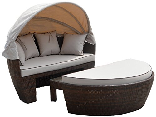 Rattan Day Bed Sofa Loveseat 3PC Venice Set Rattan Garden Furniture Set - Brown
