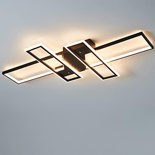 Lámpara LED de techo regulable, moderna, para salón, dormitorio, diseño rectangular, con mando a distancia, WODA Shang Mao, lámpara de techo elegante (negro + aplicación)