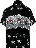 LA LEELA Men's Skull Theme Party Button Down Short Sleeve Hawaiian Shirt XL Black_W154