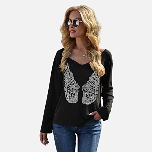PKYGXZ Camiseta de Diamantes de imitación con alas para Mujer, Jersey de...