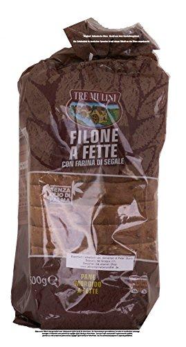 Tre Mulini Filone a Fette con farina di segale 4 x 500g = 2000g Brot in Scheiben mit Roggenmehl, Sesam und Leinsamen. Ohne Palmöl!