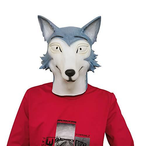 Anime Beastars Legosi Wolf Mask, Haru Cosplay Mask, Deluxe Latex Full Face Animal Mask Headgear para Halloween Cosplay Costume Props