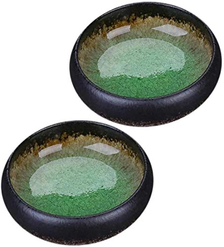 2 Plato de Cerámica para SalsaMini Plato deCondimentoLateralPlatos de CondimentoSushi Tazón de SojaPlatos para Servir Bocadillos - Verde