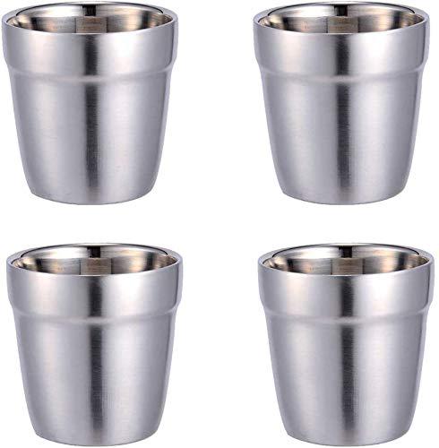 Edelstahlbecher 4 Stück Kaffeebecher Teebecher Milchbecher für Outdoor Camping Edelstahlbecher für Saft Bier Portionierungsbecher für Zuhause oder Reisen Wandern Becher unzerbrechlich Metall Becher