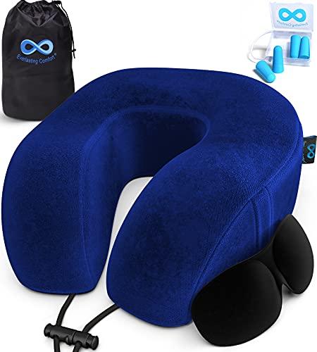 Everlasting Comfort Memory Foam Travel Pillow - Airplane Neck Rest & Plane Accessories (Blue)