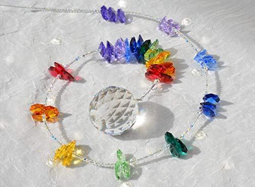 NEU! Sonnenfänger 'Rainbow', Länge 78 cm, handgearbeitet aus funkelnden Kristallen von Swarovski®, Geschenk Weihnachten, Hochzeit, Einzug, Jubiläum, Geburtstag