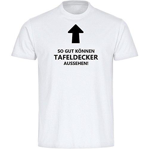 T-shirt Zo goed kunnen tafelkleden er uitzien! wit, heren, maat S tot 5XL