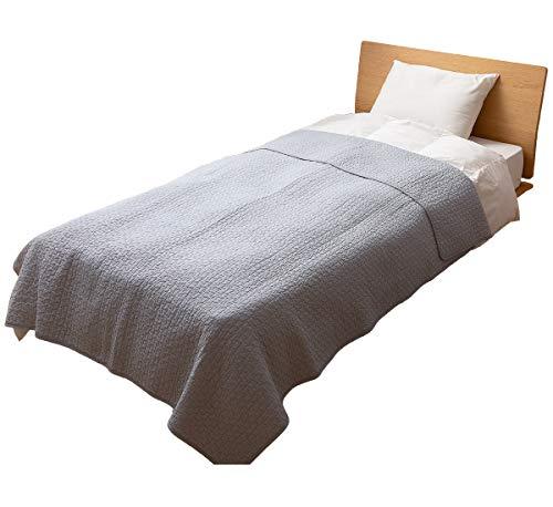 ナイスデイ マルチカバー グレー L (200×250cm) mofua (モフア) イブル 綿100% cloud柄 キルティング 洗える 低ホルム 36204313