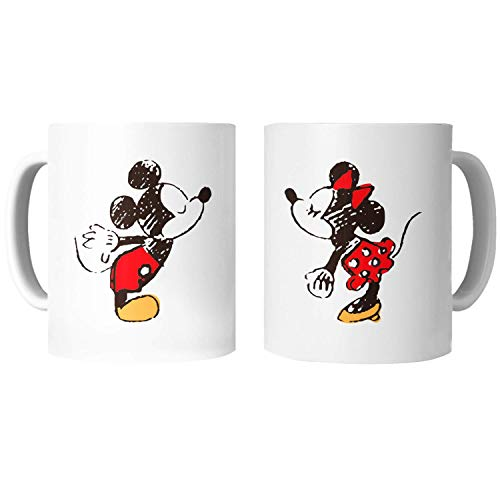 PLANETATAZAS - PACK 2 TAZAS para Enamorados / San Valentín - Mickey y Minnie - 325 ml - Tazas Desayuno Originales con Frases de Regalo para Novios/Novias