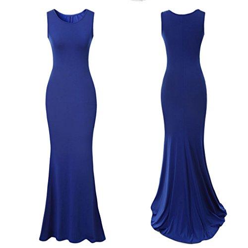 QHGstore Donne eleganti lunghi abiti da sera Abito senza maniche festa di nozze vestito convenzionale Blau M