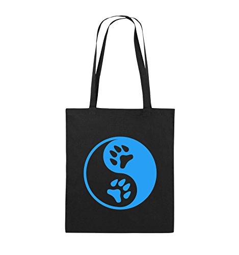 Comedy Bags - Ying Yang - PFOTE2 - Jutebeutel - Lange Henkel - 38x42cm - Farbe: Schwarz/Blau
