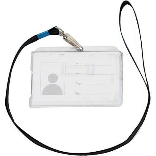 Un tarjetero de seguridad con correa para el cuello para 2 tarjetas en formato 54 x 86 mm, estuche rígido cerrado y transparente con o sin soporte para tarjetas (Con correa para el cuello, 1)