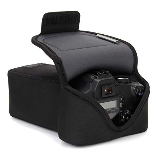 USA GEAR DSLR Kameratasche/SLR Kamerahülse für Zoomobjektiv mit Neoprenschutz, Gürtelhalfter und Zubehörspeicher - Kompatibel mit Canon, Nikon, Sony, Olympus, Pentax und vielen Anderen - Schwarz