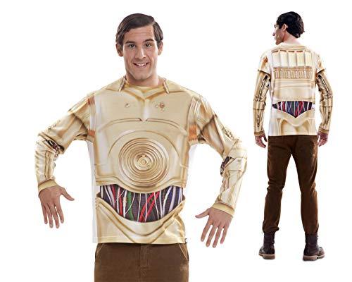 My Other Me Disfraz Camiseta de Star Wars C3po Original de Carnaval para Hombre XL de Microfibra - LOLAhome