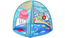 Perfect for stimulating your baby's senses, this bright, colourful play tent from Chad Valley is great for playtime. Suitable to be used from birth, the inside of the tent has soft LED lights, hanging play toys , sensory play streamers and sensory bl...
