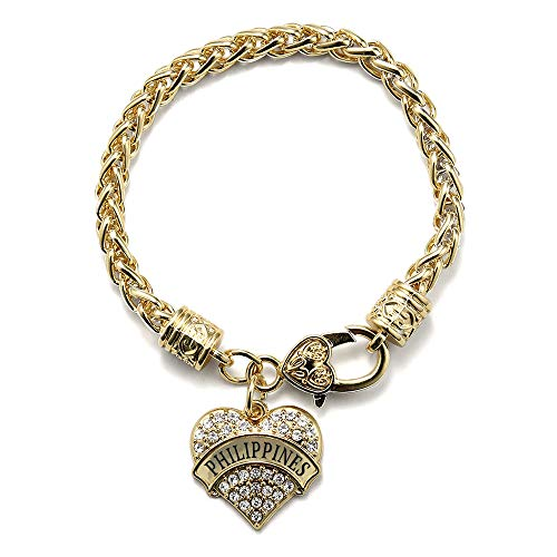 Inspired Silver - Philippines Braided Bracelet for Women - Gold Pave Heart Charm Bracelet with Cubic Zirconia Jewelry