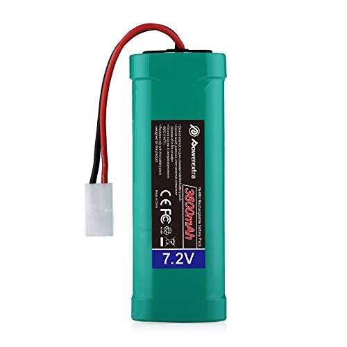 Powerextra 7.2V 3600mAh High Capacity Rechargeable 6-Cell NiMH Battery Pack Low-self Discharge with Standard Tamiya Connectors Compatible RC Cars, RC Truck, RC Airplane, RC Helicopter, RC Boat