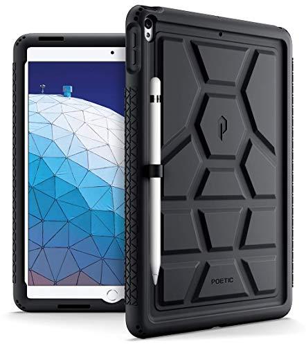 iPad Air 3 ケース (10.5 inch 2019), iPad Pro 10.5 ケース (2017), Poetic [Turtle Skin シリーズ] アップル アイパッド プロ ケース 黒 ブラック 衝撃吸収 バンパー 音声拡大 放熱構造 スタイラスホルダー付き Apple iPad Air 3 (10.5 inch 2019), iPad Pro 10.5 (2017) 対応 (ブラック)