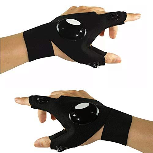 Gelentea Guantes de pesca LED linterna guantes sin dedos linterna linterna herramienta al aire libre pesca camping senderismo guantes de supervivencia
