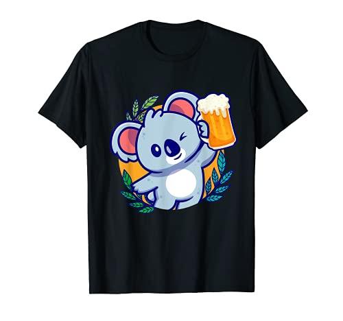 Party Koala mit Bier I Fun Damen Herren T-Shirt