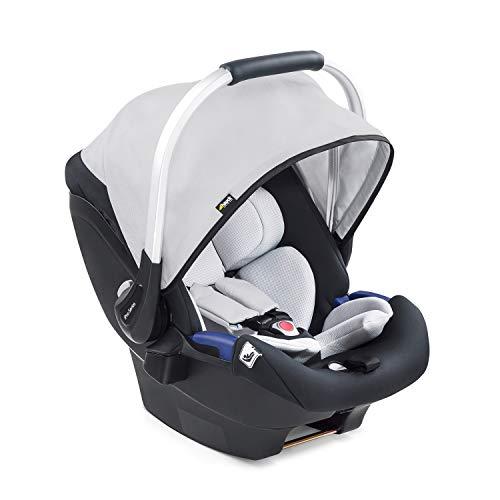 Hauck iPro Baby i-Size Babyschale ab Geburt bis 13 kg, Gruppe 0 Baby Autositz mit zwei-teiliger Neugeborenen-Einlage, mitwachsend, leicht, kompatibel mit Hauck Isofix Base, silber