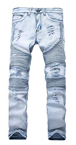 NITAGUT Men's Ripped Slim Straight fit Biker Jeans Light Blue-US 36