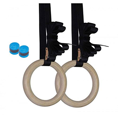 Gymnastics Rings Wood 32mm Olympic Rings 1.25 Inch with Adjustable Buckle 15ft L/1.5