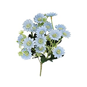 HaHapo 25 Heads Hydrangea Flowers Artificial Bouquet Silk Blooming Fake Peony Bridal Hand Flower Roses Wedding Centerpieces Decor-Lake Blue-