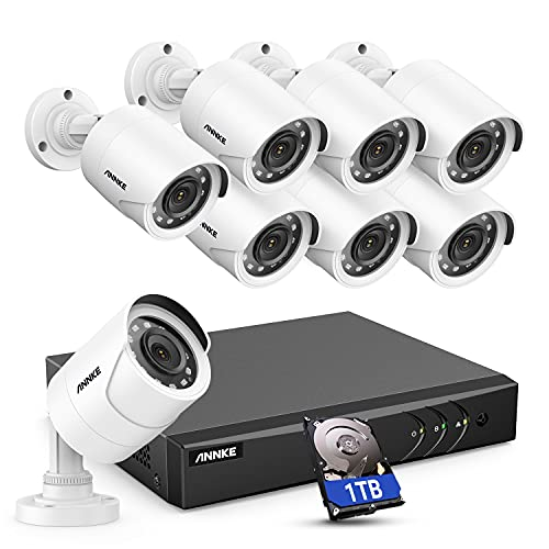 ANNKE 5MP Lite 8CH Wired Security Surveillance Camera System H.265+ DVR and 8 x 1080p HD Weatherproof CCTV Camera, 100 ft Night Vision, Easy Remote Access, 1 TB Hard Drive – E200