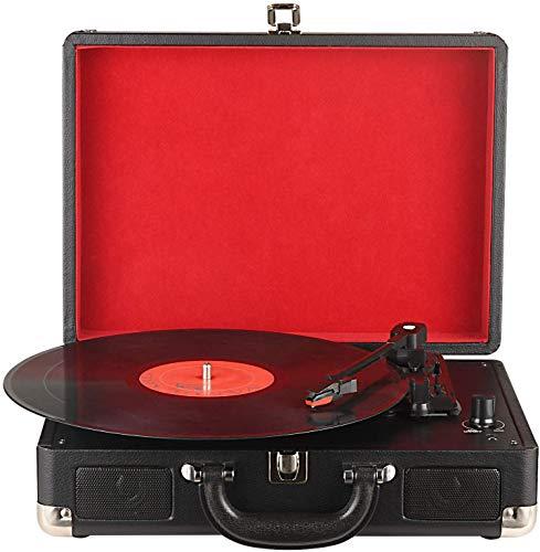DIGITNOW! Tocadiscos 33/45/78 RPM Seleccionables, Maleta Portátil con 2 Altavoces Integrados, grabador de vinilo a MP3, USB reproductor MP3, entrada AUX y RCA, Negro