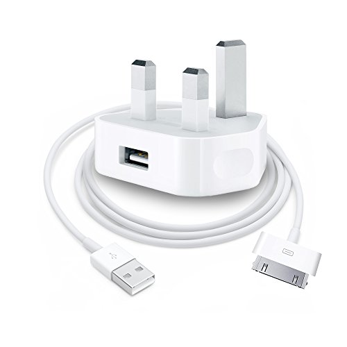 IWIO Mains 3-Pin UK Plug USB 1AMP & USB Charger compatible with Apple iPhone 3G/3GS/4/4s, iPad 1/2/3, iPod Touch 1/2/3/4, iPod Classic, iPod Nano 1/2/3/4/5/6 - WHITE