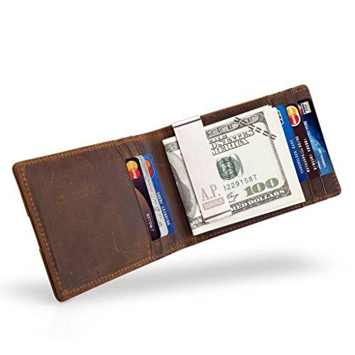 A.P. Donovan - Geldbörse Leder Herren braun | Portemonnaie mit Geldklammer | Echtleder Geldbeutel und Kreditkartenetui