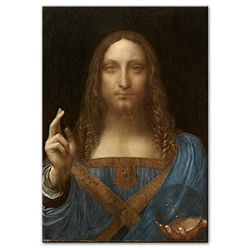 A&D Salvator Mundi Wandkunst Leinwand Gemälde Reproduktionen Von Leonardo Da Vinci Berühmte Hause Dekorative Leinwand Für Wohnzimmer-50x75 cm Kein Rahmen