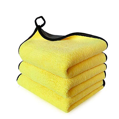 Lasyman 3 Extra Thick car Cleaning Rags - Super Absorbent Microfiber Towels for Cars/Detailing/Interior, Reusable-Microfiber Cleaning Cloth Dust Cloth, Lint Free Drying Towel Car Wash Towels