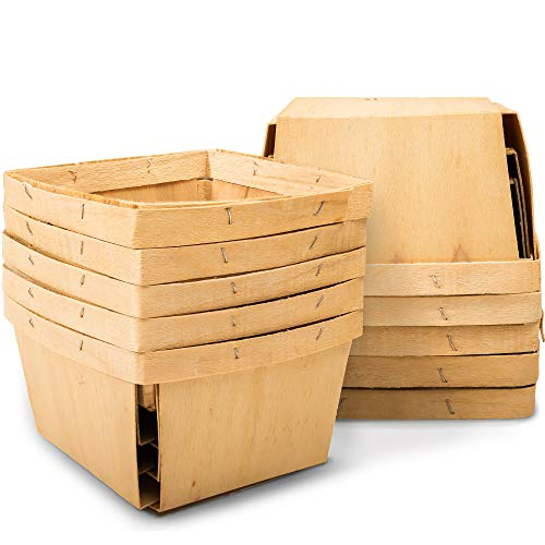 """One Quart Wooden Gift Baskets (10 Pack); for Picking Fruit or Arts, Crafts and Decor; 5.75"""" Square Vented Wood Boxes"""