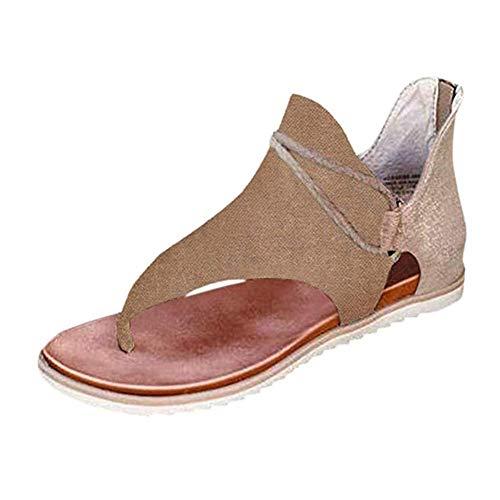 Yesgirl Mujer Sandalias Planas Casual Leopardo Zapatos De Verano Sandalias Mujeres Peep Toe Encaje Up Impresión Clip Toe con Cremallera Planas Playa Sandalias